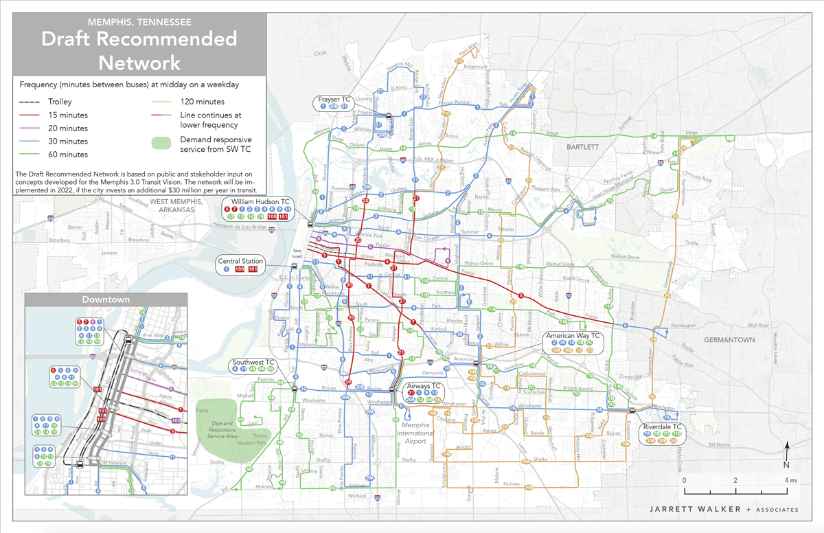 Image of draft recommended transit map in the City of Memphis